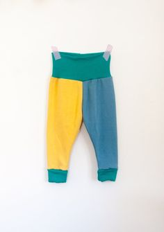best of both worlds baby pants / size 6-12 month colorblocked gender neutral baby pants by tinymack on etsy