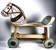 Hobby Horse on Wheels - Rustic Vintage Toy Pony