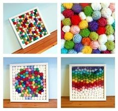 Make a collage with tiny rolled-up yarn balls.   34 Adorable Things To Do With Leftover Bits Of Yarn