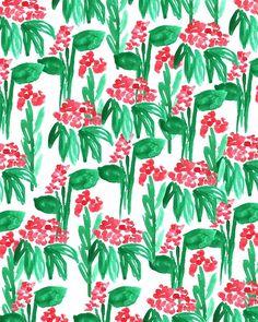 Little Red Flowers. #pattern #illustration #flowers
