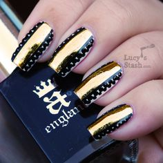 Lucy's Stash - Gold foil stripe & dots nail art manicure