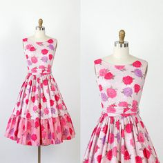Pink and Purple Floral Chrysanthemum 1950s Dress Full Skirt. via Etsy.