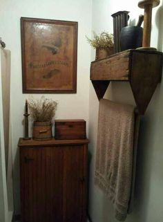 Vintage tool box hung up side down shelf and towel holder. .. cool
