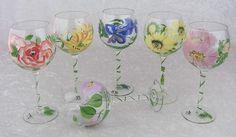 Royal Danube Crystal Hand Painted Flowers & Stem Balloon Wine Glasses