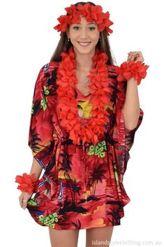 Ladies Short Kaftan Poncho beach cover up with lei set. Throw this delightful caftan over your bikinis or jeans for a day at the beach, cruising or casual wear. Add a lei set to complete your tropical party look. Lots of colours and patterns to choose from. #poncho #kaftan #bikini #beachcoverup #caftan #luau #luauparty #cruise #cruisewear #fancydress #hens #bachelorette #tropical #tropicalparty #