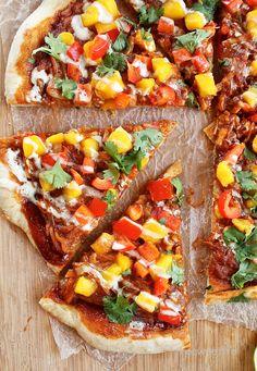 Vegan BBQ mango salsa pizza