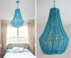 how fun would this be in a girl/kid's room? could paint any beads you find and string them...or pearls?? so fun
