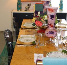 HomeGoods vases set the color palette for this festive Fall table. #sponsored