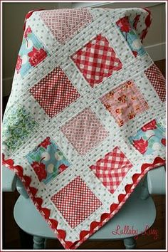 plain blocks with sashing. puts the focus on the fabric.. polka dots, baby quilts, color, quilt patterns, the edge, rickrack, baby girls, ric rac, rick rack