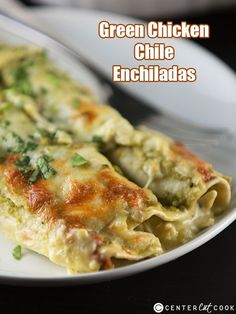 Green chicken chile enchiladas