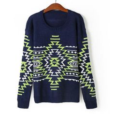Cute Round Neck Color Splicing Geometrical Pattern Long Sleeve Sweater For Women, PURPLISH BLUE, ONE SIZE in Sweaters & Cardigans   DressLily.com