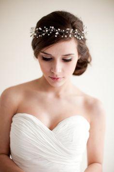 Bridal Crown Wedding Tiara Hair Wreath Floral Headband Bridal Halo Crystal Tiara Pearl Rhinestone- Jocelyn. $235.00, via Etsy.