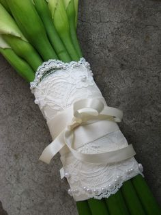 Beaded Lace Wedding Bouquet Wrap. $25.00, via Etsy.