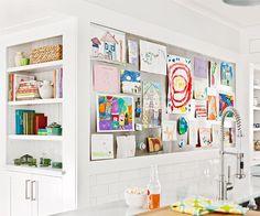 kids art wall display, display wall, kids artwork, kid art, playroom, art displays, magnetic boards, kitchen, work dresses
