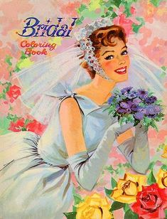 What a romantically gorgeous vintage colouring book cover! #vintage #wedding #retro #bride #colouring #book #coloring #1950s #fifties