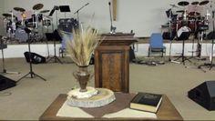Church fall decor - communion table 2014