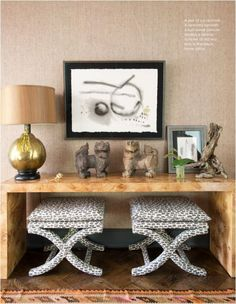 burled wood console + curvy x benches--image via Centsational Girl