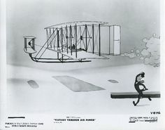Photo of a drawing taken from Disney's Victory through Air Power. This drawing depicts the first flight by the Wright brothers.