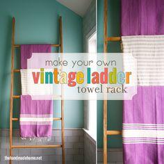 vintage ladder towel rack