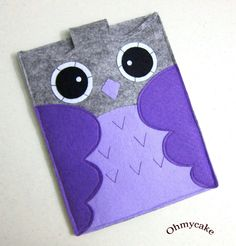 "iPad case - iPad and purse - iPad bag - iPad covers - iPad Sleeve - Handmade felt iPad Sleeve - "" Grey & Purple Owl "" Design. $38.00, via Etsy."