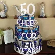 50th birthday present. 50 beers in a cake party-ideas