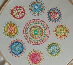 Embroidered circles.