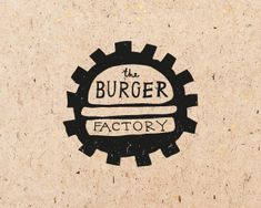 Burger Factory Logo - Love the use of the cogs surrounding the burger and text to symbolize the 'factory' element #cafelogo
