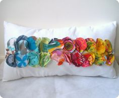 Colorful Ruffled Circles Pillow Cover
