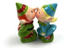Kissing Elves Salt & Pepper Shakers #Christmas #Elves #Santa