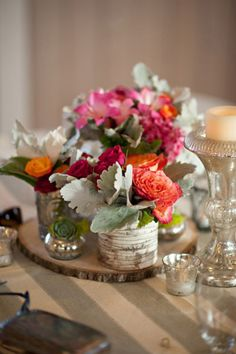 Love the wood centerpieces.