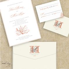 Coral Beach Destination Wedding Invitation Suite by AmareDesign