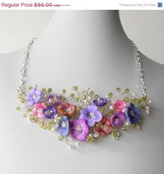 Flower Bead Bridal Necklace Pink and Purple Twisted Wire Jewelry Swarovski Crystals Colorful Wedding Necklace, Cyber Monday Etsy. $76.50, via Etsy.