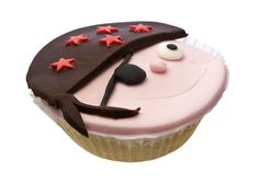 A pirate cupcake design. The birthday boy will love this buccaneer with an eye patch!