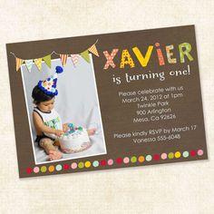 birthday party invitations, preston birthday, harper birthday, birthday parties, 1st bday
