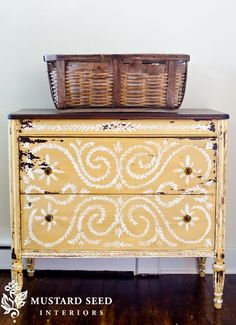 This is so pretty! Yellow painted wood antique dresser - distressed and stenciled - refinished furniture and the two tone