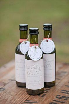 labelled bottles of olive oil