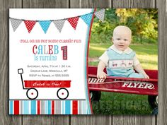 Red Wagon Birthday Invitation  FREE thank you by DazzleExpressions, $15.00