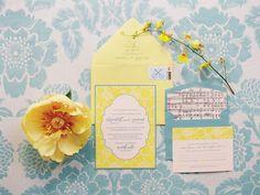 Blue + yellow invitation suite.