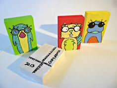 Art o mat blocks Animals with Glasses colorful wood art blocks by LuckiiArts on Etsy, $8.00