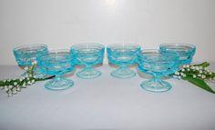 Vintage Dishes Aqua Pedestal......Six by CheekyVintageCloset, $32.00