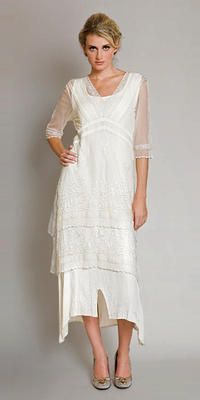 Vintage romantic embroidered prom wedding titanic tea lenght dress AL-5901