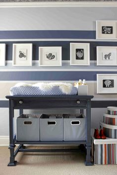 striped nursery; great furniture / changing table