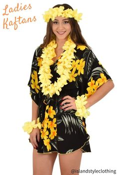 Pretty in Yellow Floral. Ladies Kaftan Poncho beach cover up. Throw this delightful caftan over your bikinis or jeans for a day at the beach, cruising or casual wear. Add a lei set to complete your tropical party look. Lots of colours and patterns to choose from. #poncho #kaftan #bikini #beachcoverup #caftan #luau #luauparty #cruise #cruisewear #fancydress #hens #bachelorette #tropical #tropicalparty