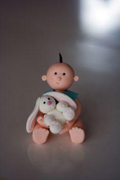Baby & bunny  porcelana fria polymer clay