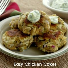 Chicken Cakes with Cilantro Garlic Mayo - These are sooo delicious and easy to make with already cooked chicken.