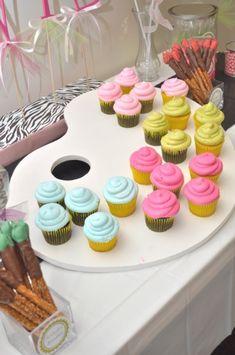 cupcake displays, art party, pretzel rods, birthday parties, party cupcakes, paint palett, paint party, paint brushes, artist party