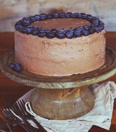 White Zucchini Cake with Chocolate Frosting and Blueberries