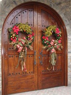 christmas wreaths, the doors, leann michael, holiday wreaths, entry doors, christmas front doors, gold christmas, wood doors, christmas door