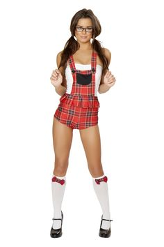 School Girl Student Body Costume JVCA159 J Valentine's New Student Body Costume. Red Plaid Print Tube Style Romper with Suspenders with Buttons and a White Tube Top Bust. #sexyschoolgirl #schoolgirluniform #schoolgirlcostume