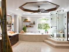 dream bathrooms, ceiling fans, big bathroom, bathtub, tile, master bathrooms, shower, master baths, spa